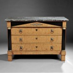 Biedermeier-style Birch-veneer and Parcel-ebonized Marble-top Chest   of Drawers, likely Germany, 19th century (Lot 468, Estimate $800-  $1,000)