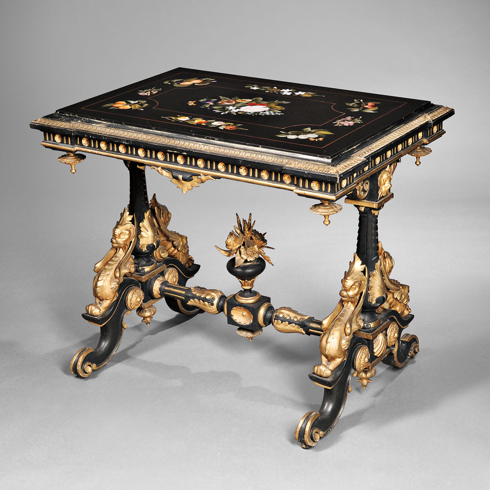 Beautiful Pietra Dura, Ebonized, And Parcel Gilded Center Table, Italy (Lot 894,  Estimate $4,000 $6,000)