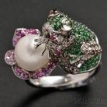14kt White Gold, Cultured Pearl, Diamond, and Colored Gemstone Frog Ring (Lot 250, Estimate $1,500-$2,000)