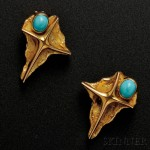 Pair of 18kt Gold and Turquoise Earrings (Lot 419, Estimate $400-$600)