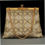 A Gold and Silver Metallic Handbag on Gold-tone Hardware, Gucci, 1970s (Lot 590, Estimate $100-$150)
