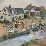 Ilya Schor (American, 1904-1961), Shtetl Scene (Lot 151, Estimate $1,000-$1,500)