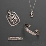 Four Ilya Schor Silver Jewelry Items, 1950s-1960s (Lot 142, Estimate $300-$500)