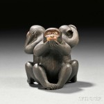 Wood Carving of the Three Wise Monkeys, Japan, 19th century (Lot 75, Estimate $500-$700)