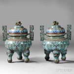 Pair of Cloisonne Tripod Censers, China, 19th century (Lot 265, Estimate $2,000-$3,000)