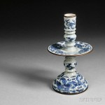 Blue and White Composite Candlestick, China, late Ming Dynasty (Lot 380, Estimate $2,000-$3,000)