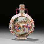 Famille Rose Moonflask with European Figures, China, 20th century or earlier (Lot 398, Estimate $2,000-$3,000)
