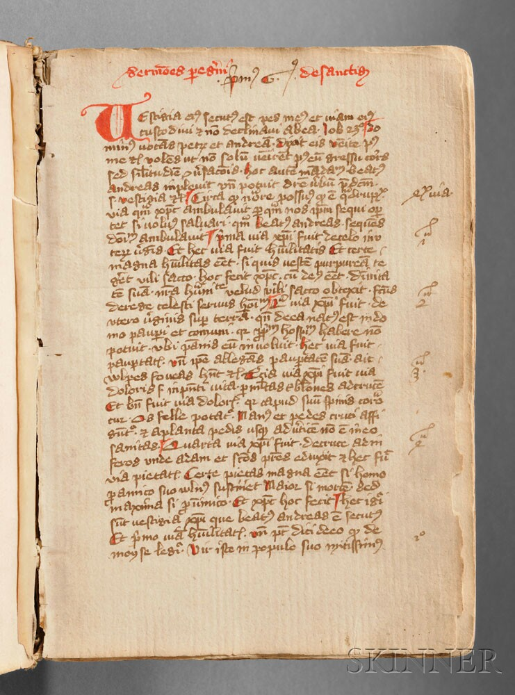 Sold for $42,000: Medieval Latin Text Manuscript, Peregrinus de Opole (1260-after 1333) Sermones Peregrinus de Sanctis. Germany or Eastern Europe, 1376