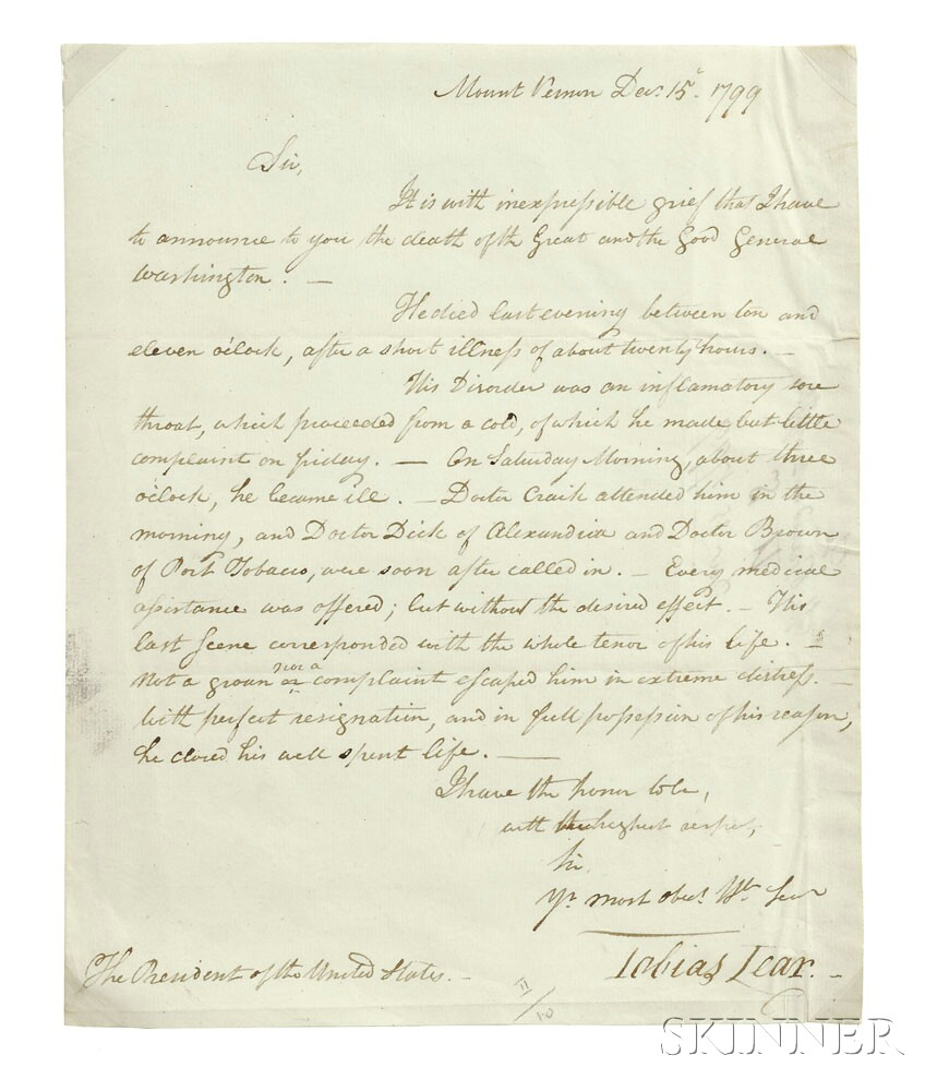Sold for $108,000:  Washington, George (1732-1799) Letter to President John Adams (1735-1826)
