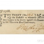 Washington, George (1732-1799) Lottery Ticket, Signed, 1768 (Lot 63, Estimate $5,000-$7,000)