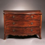 Inlaid Mahogany Serpentine-front Three-drawer Bureau, English, late 18th or   early 19th century (Lot 729, Estimate $300-$500)