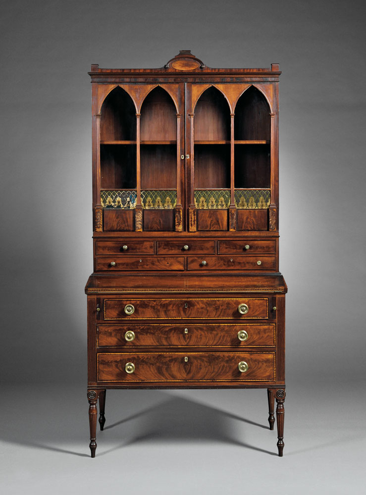 Federal Mahogany Carved and Inlaid Lady's Secretary-bookcase to be ...