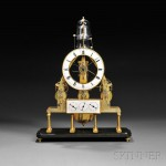 A.dre Texier Petite Sonnerie Skeleton Calendar Clock with Remontoire,   Paris, c. 1830 (Lot 421, Estimate $20,000-$30,000)
