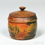 Paint-decorated Turned Treen Covered Sugar Bowl, America, 19th century   (Lot 1000, Estimate $800-$1,200)