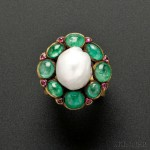 Rare Gold, Baroque Pearl, Emerald, and Pink Sapphire Ring,   Marie Zimmermann (Lot 475, Estimate $10,000-$15,000)