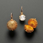 Fine Pair of Antique Gold and Diamond Earpendants and Coach   Covers (Lot 498, Estimate $12,000-$15,000)