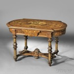 American Renaissance Revival Marquetry and Parcel-gilt Center Table,   probably New York, last quarter 19th century (Lot 635, Estimate $1,200-  $1,800)