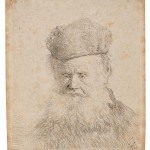 Rembrandt van Rijn (Dutch, 1606-1669) Bust of an Old Manwith a Fur Cap and Flowing Beard, Nearly Full Face, Eyes Direct, c. 1631 (Lot 102, Estimate $1,500-$2,000)