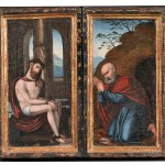Flemish School, 16th Century, Altarpiece/Devotional Diptych: Christ with   the Symbols of the Passion and St. Peter (Lot 302, Estimate $9,000-  $11,000)