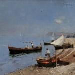 Rubens Santoro (Italian, 1859-1942), Drying the Nets (Lot 368, Estimate   $7,000-$9,000)