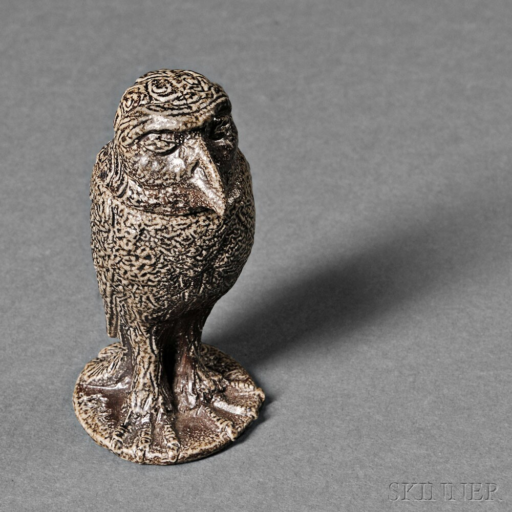 Martin Brothers Miniature Stoneware Wally Bird Jar and Cover, England, c. 1902 (Lot 260, Estimate $6,000-$8,000)