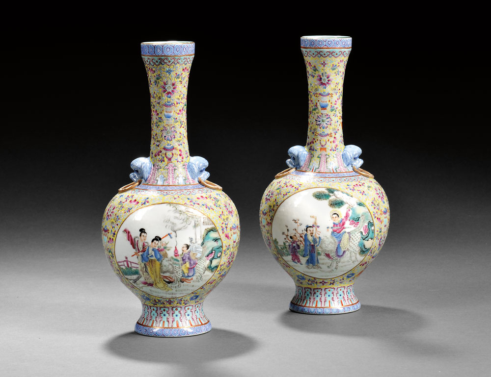 Pair of Famille Rose Yellow-ground Vases, China (Lot 491, Estimate $500-  $700)