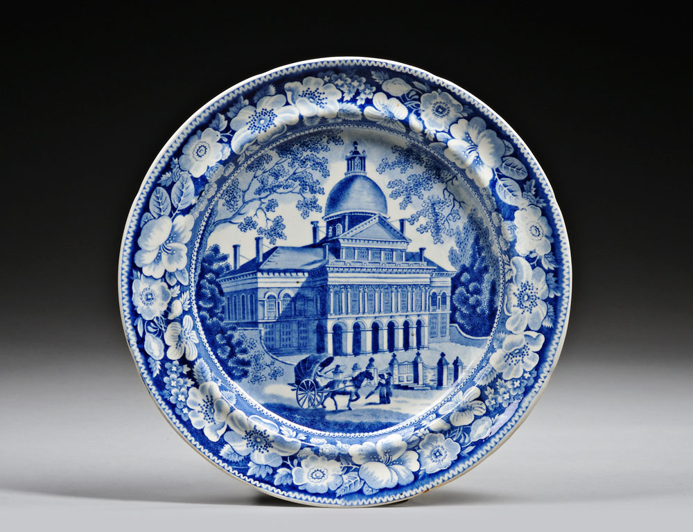 Two Historical Blue Transfer-decorated Staffordshire Pottery Dinner Plates (Estimate $400-$600)