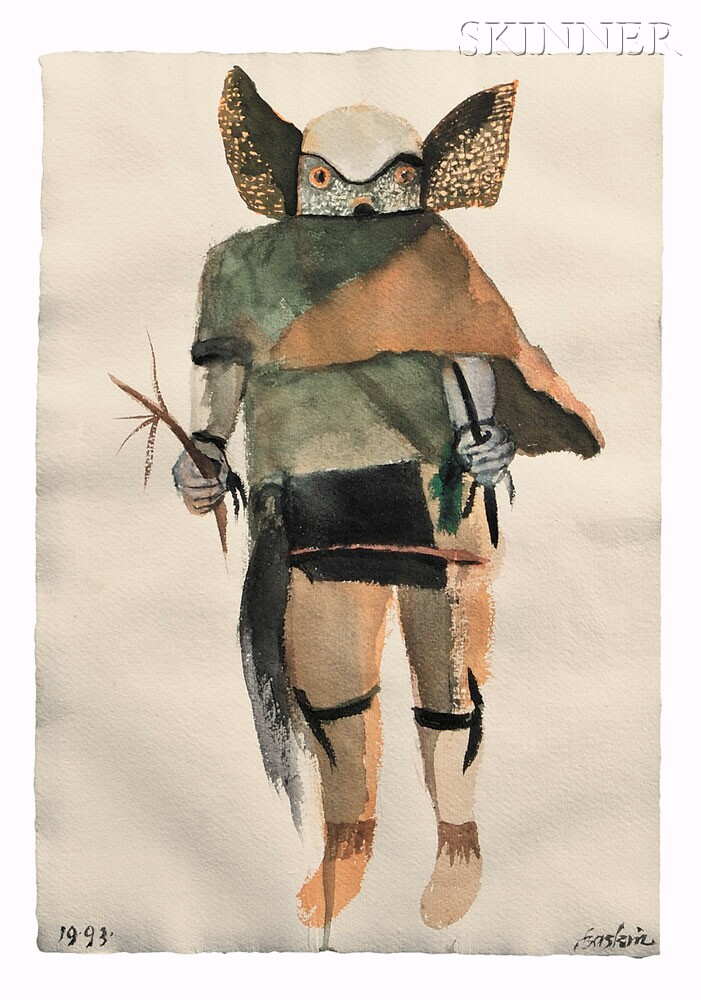 One of Two Contemporary Kachina Paintings by Leonard Baskin, 1993 (Lot 176, Estimate   $600-$800)