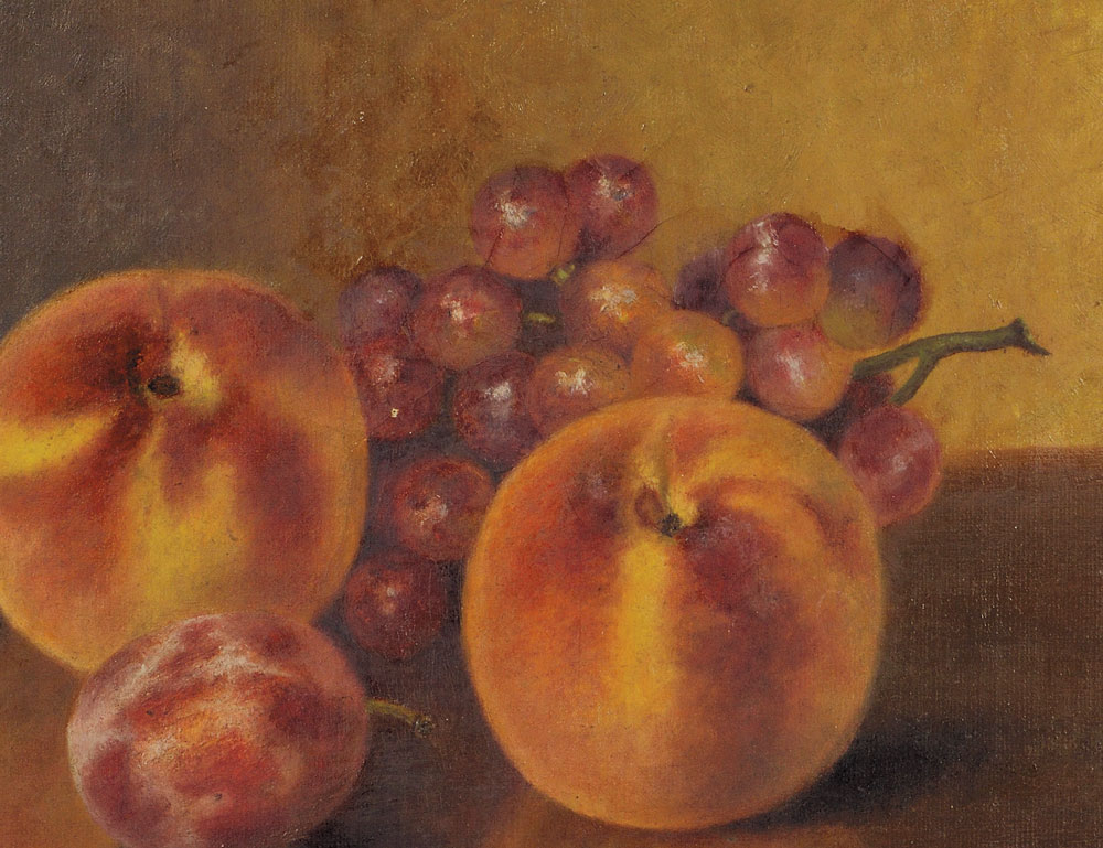 Fall River School, 19th Century Still Life with Peaches and Red Grapes (Lot 54, Estimate $700-$900)