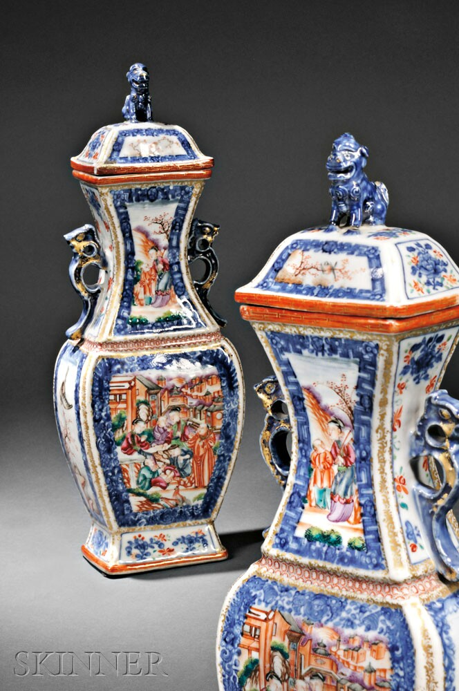 Pair of Chinese Export Porcelain Mandarin Palette Covered Garniture Vases, 18th century (Lot 44, Estimate $2,000-$2,500)