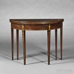 Federal Mahogany Inlaid Demilune Card Table, attributed to Thomas and Samuel Goddard, Newport, Rhode Island, late 18th century (Lot 72, Estimate $1,500-$2,500)
