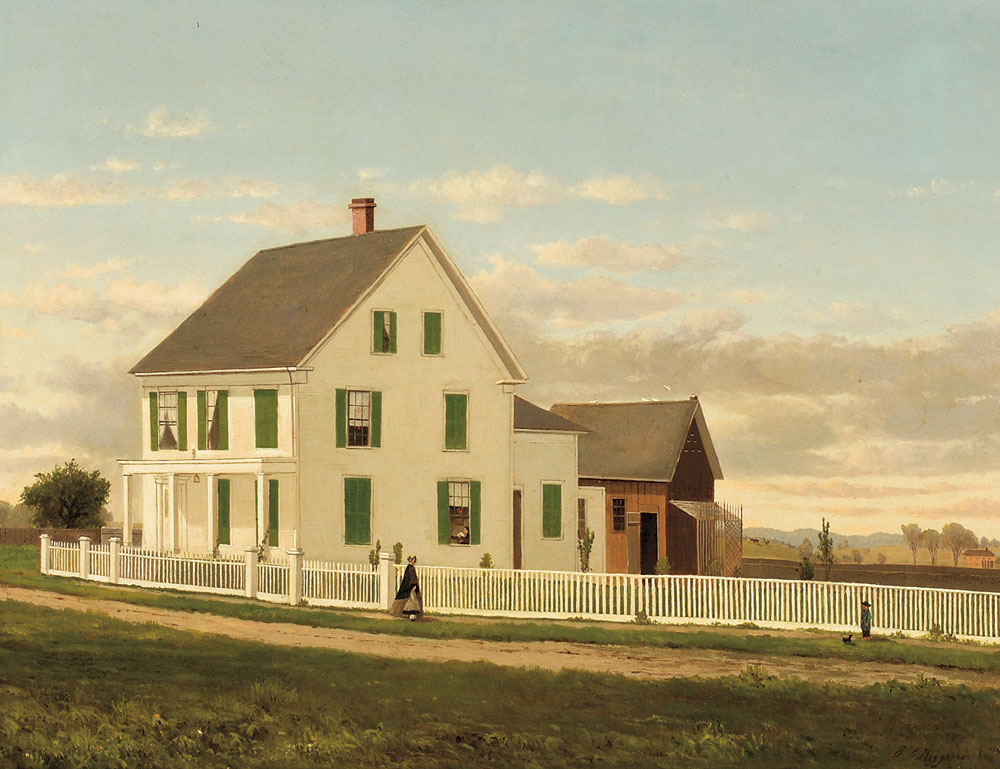 George Frank Higgins (Massachusetts, 1850-1884) Farmhouse with Green Shutters and Four Figures (Lot 274, Estimate $3,000-$5,000)