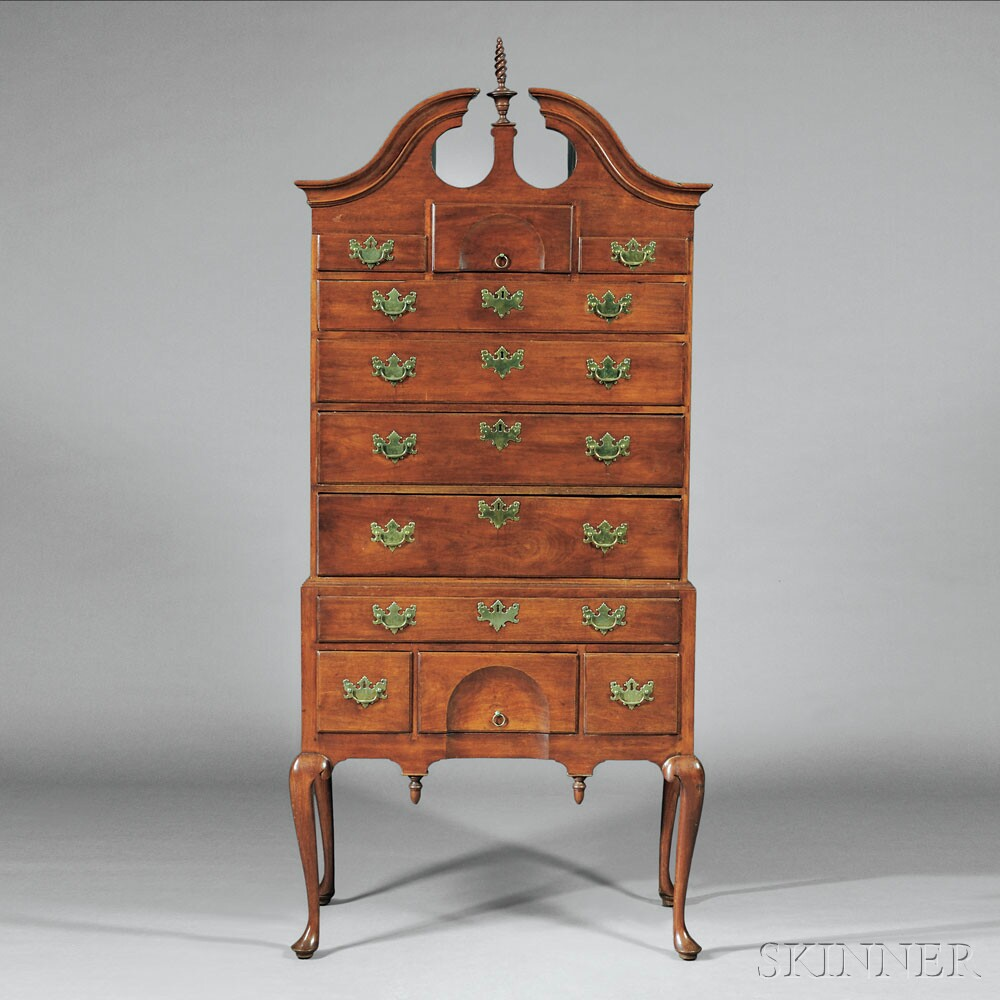 Queen Anne Walnut Carved Scroll-top High Chest of Drawers, probably North Shore of Massachusetts, c. 1740-60 (Lot 23, Estimate $10,000-$15,000)