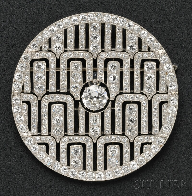 Sold for: $90,000 - Art Deco Platinum and Diamond Pendant/Brooch, Cartier