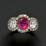 Burma Ruby and Diamond Three-stone Ring (Lot 448, Estimate $25,000-$35,000)