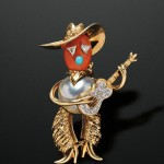 Whimsical Gold Gem-set Figural Brooch, Cartier, New York, 1965 (Lot 552, Estimate $25,000-$35,000)