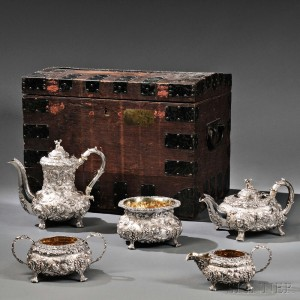 Five-piece Victorian Sterling Silver Tea and Coffee Service, London, 1841-42 (Lot 27, Estimate $8,000-$12,000)