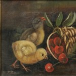 American School, 19th Century Three Chicks Nibbling Cherries   (Lot 204, Estimate $300-$500)