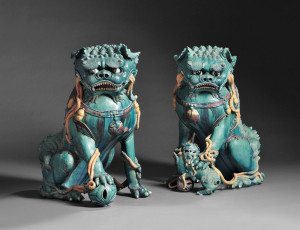 Sold for $92,250. Pair of Large Buddhist Lions, China, 17th century, from the Estate of Peter Rosenberg
