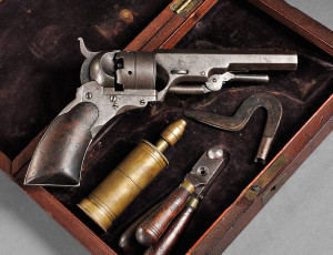 Cased Paterson Number Two, Fifth Model Ehlers Pocket Revolver, c. 1840-43 (Lot 21, Estimate $40,000-$50,000)