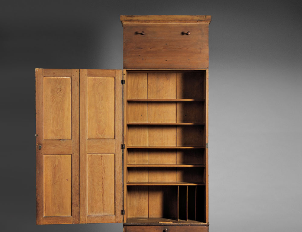 Shaker Pine Schoolhouse Cupboard and Case of Drawers, Mount Lebanon, New York, c. 1840 (Lot 39, Estimate $60,000-$80,000)