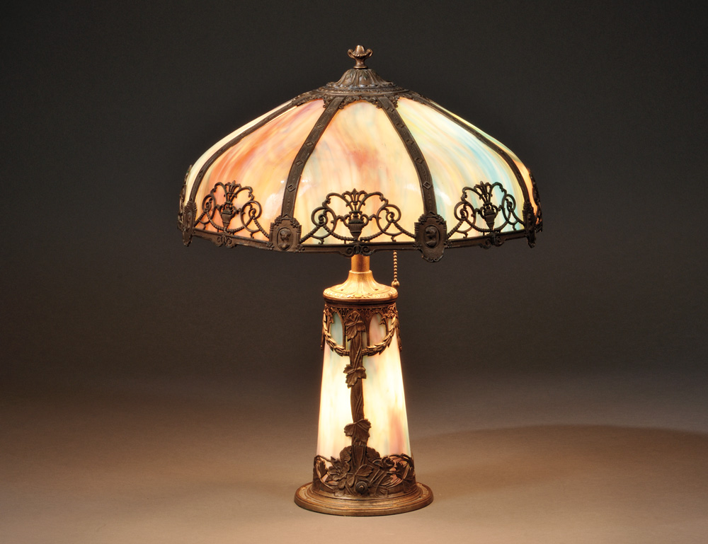 Metal Overlay and Slag Glass Table Lamp, early 20th century (Lot 388, Estimate   $300-$500)
