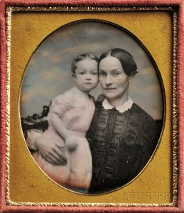 American School, 19th Century Hand-tinted Sixth-plate Daguerreotype of a Mother and Child  (Lot 88, Estimate $300-$500)