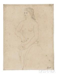 Pablo Picasso (Spanish, 1881-1973), Femme retenant son   peignoir, c. 1923 (Lot 601, Estimate $30,000-$50,000)