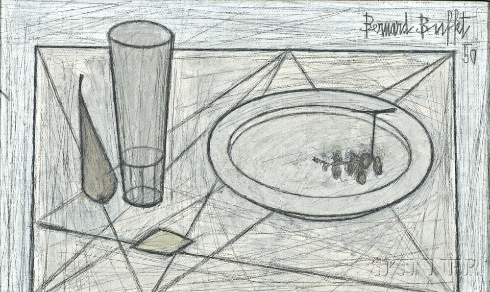Bernard Buffet (French, 1928-1999), Nature morte à   l'assiette et verre (Lot 608, Estimate $30,000-$60,000)