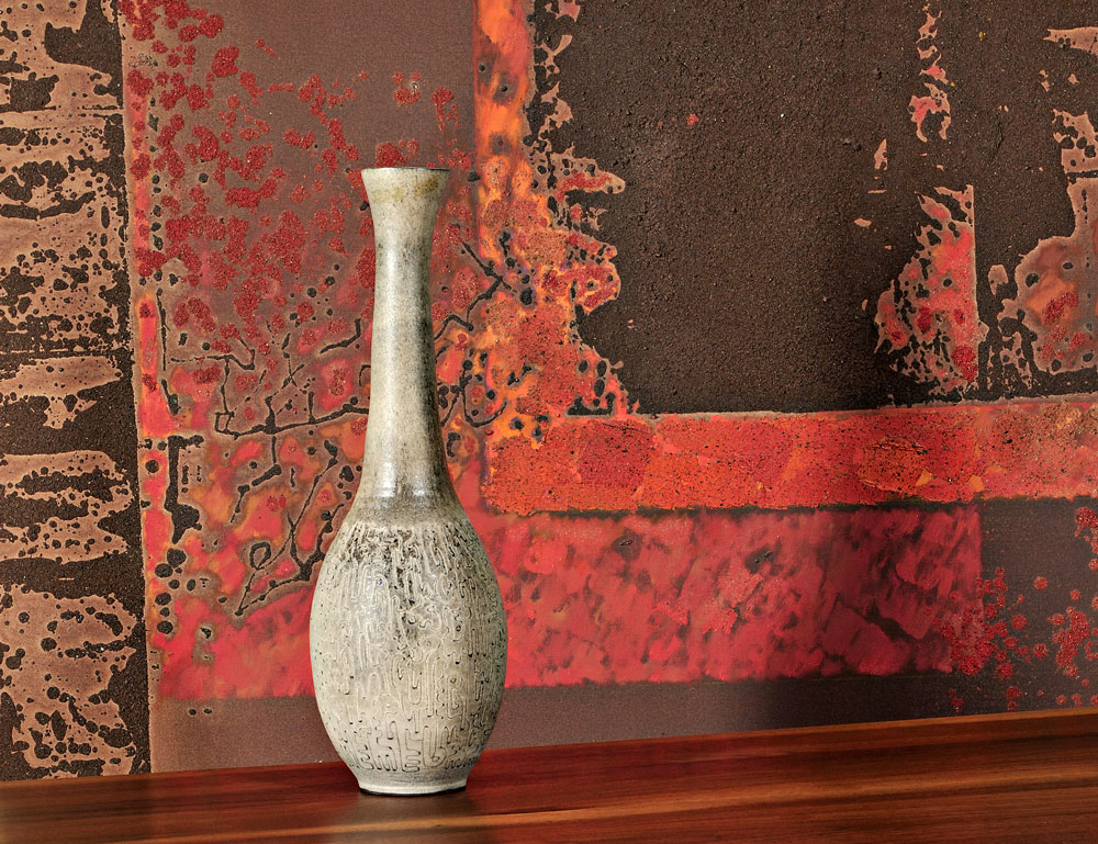 Painting by Gyorgy Kepes, Desk by George Nakashima, and Bottle Vase by Edwin and Mary Scheier
