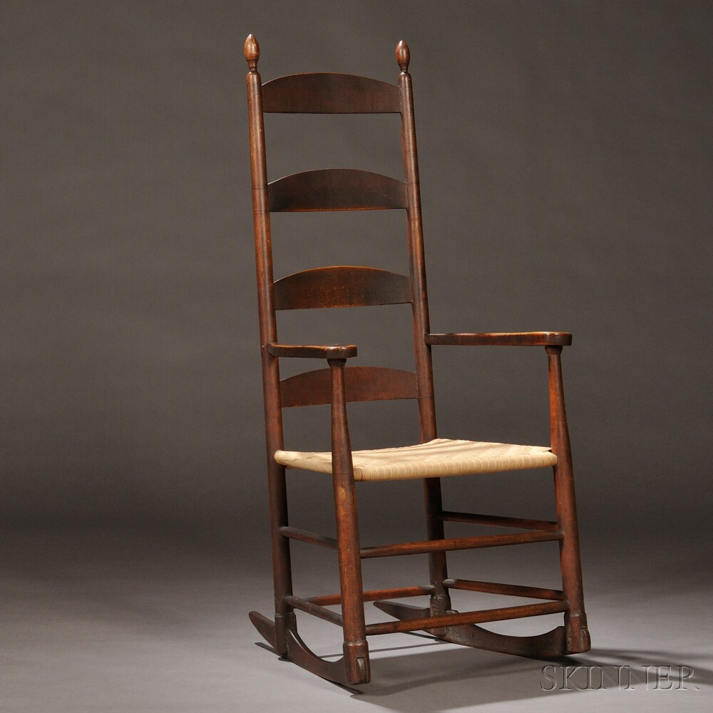 Shaker Brown-Red-painted Rocking Chair, New Lebanon, New York, c. 1800 (Lot  9: Estimate $12,000-$15,000) - Shaker Antiques Skinner Inc.