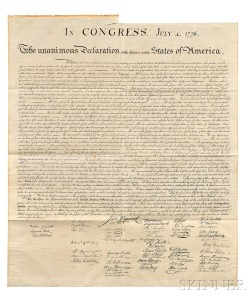 Declaration of Independence. Washington, D.C.: engraved by W.J. Stone, [1833] (Lot 14, Estimate $18,000-$20,000)