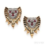 Pair of Platinum, Ruby, and Diamond Dress Clips (Lot 685, Estimate $5,000-$7,000)