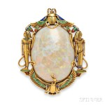Egyptian Revival 14kt Gold, Opal, and Enamel Brooch, Marcus & Co.(Lot 706, Estimate $3,000-$5,000)